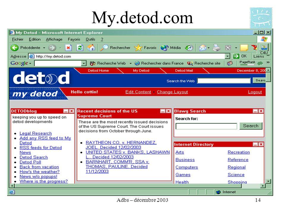 Adbs – décembre 200314 My.detod.com
