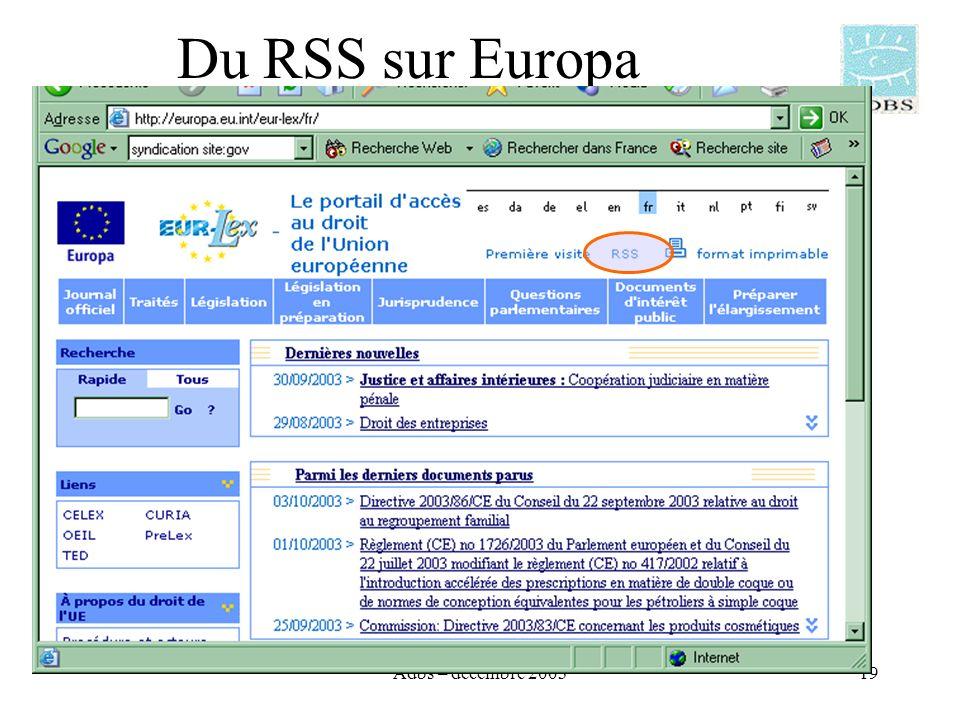 Adbs – décembre 200319 Du RSS sur Europa