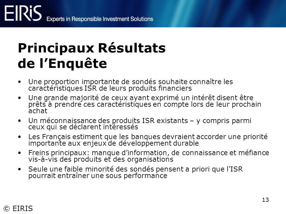 © EIRIS 13 Principaux Résultats de lEnquête Une proportion importante de sondés souhaite connaître les caractéristiques ISR de leurs produits financie