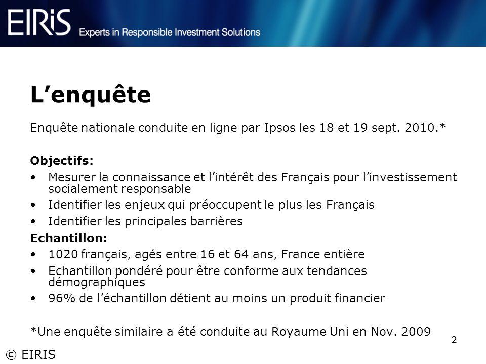 © EIRIS 2 Lenquête Enquête nationale conduite en ligne par Ipsos les 18 et 19 sept. 2010.* Objectifs: Mesurer la connaissance et lintérêt des Français
