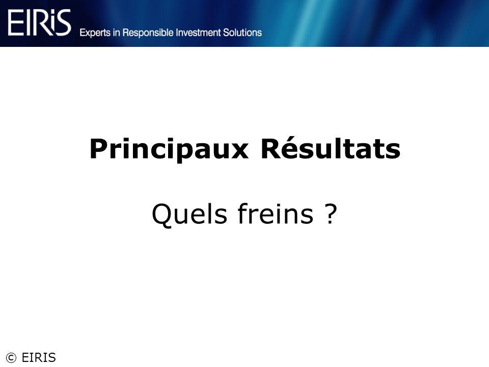 © EIRIS Principaux Résultats Quels freins ?