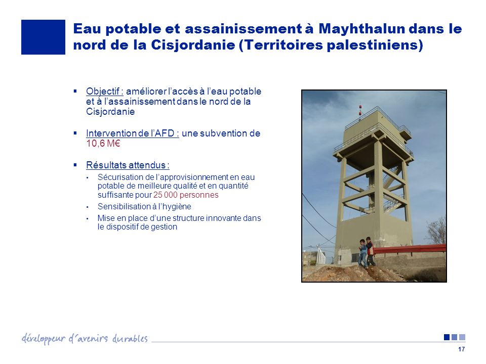 17 Eau potable et assainissement à Mayhthalun dans le nord de la Cisjordanie (Territoires palestiniens) Objectif : améliorer laccès à leau potable et à lassainissement dans le nord de la Cisjordanie Intervention de lAFD : une subvention de 10,6 M Résultats attendus : Sécurisation de lapprovisionnement en eau potable de meilleure qualité et en quantité suffisante pour 25 000 personnes Sensibilisation à lhygiène Mise en place dune structure innovante dans le dispositif de gestion