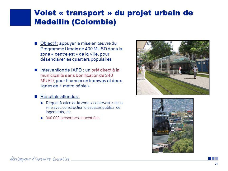 20 Volet « transport » du projet urbain de Medellin (Colombie) Objectif : appuyer la mise en œuvre du Programme Urbain de 400 MUSD dans la zone « centre est » de la ville, pour désenclaver les quartiers populaires Intervention de lAFD : un prêt direct à la municipalité sans bonification de 240 MUSD, pour financer un tramway et deux lignes de « métro câble » Résultats attendus : Requalification de la zone « centre-est » de la ville avec construction despaces publics, de logements, etc.