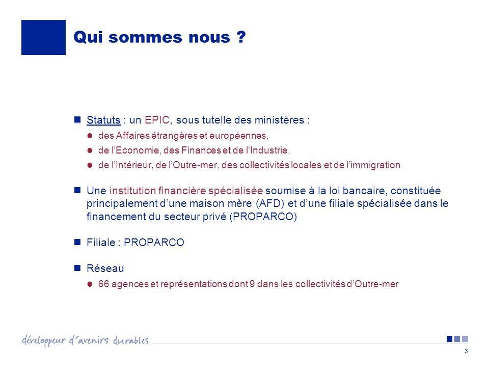 3 Qui sommes nous ? Statuts Statuts : un EPIC, sous tutelle des ministères : des Affaires étrangères et européennes, de lEconomie, des Finances et de