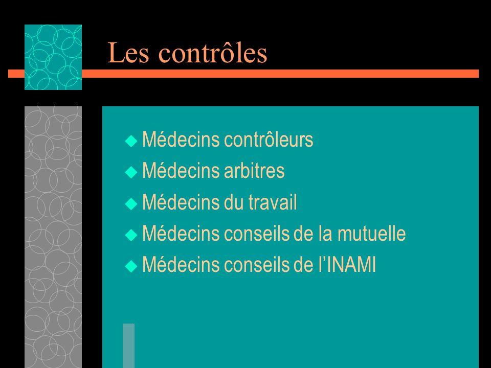 Les contrôles Médecins contrôleurs Médecins arbitres Médecins du travail Médecins conseils de la mutuelle Médecins conseils de lINAMI