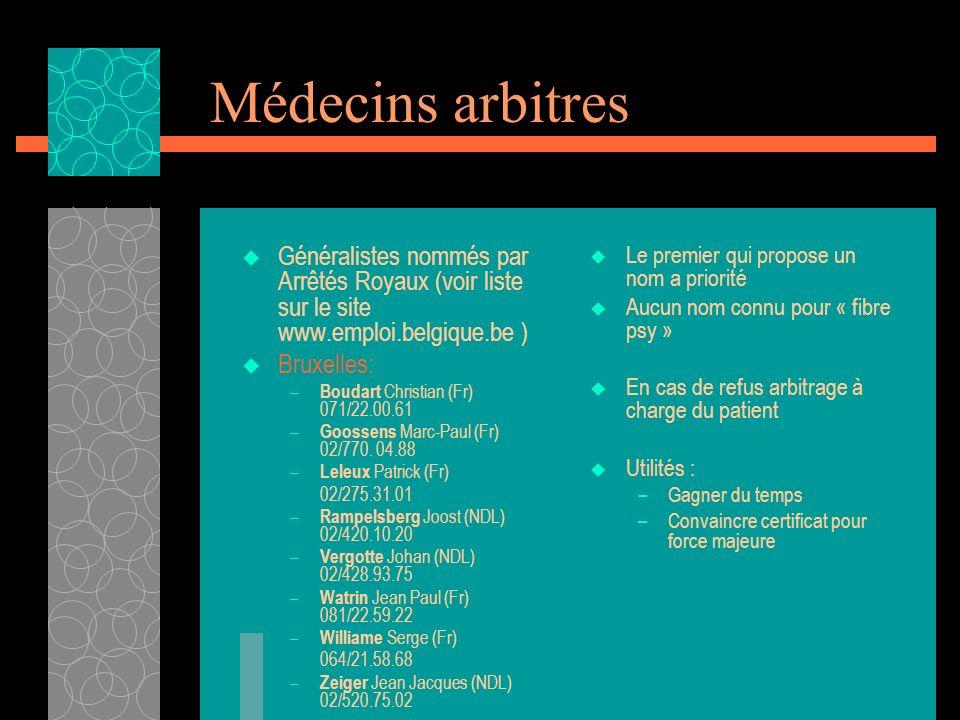 Médecins arbitres Généralistes nommés par Arrêtés Royaux (voir liste sur le site www.emploi.belgique.be ) Bruxelles: – Boudart Christian (Fr) 071/22.0
