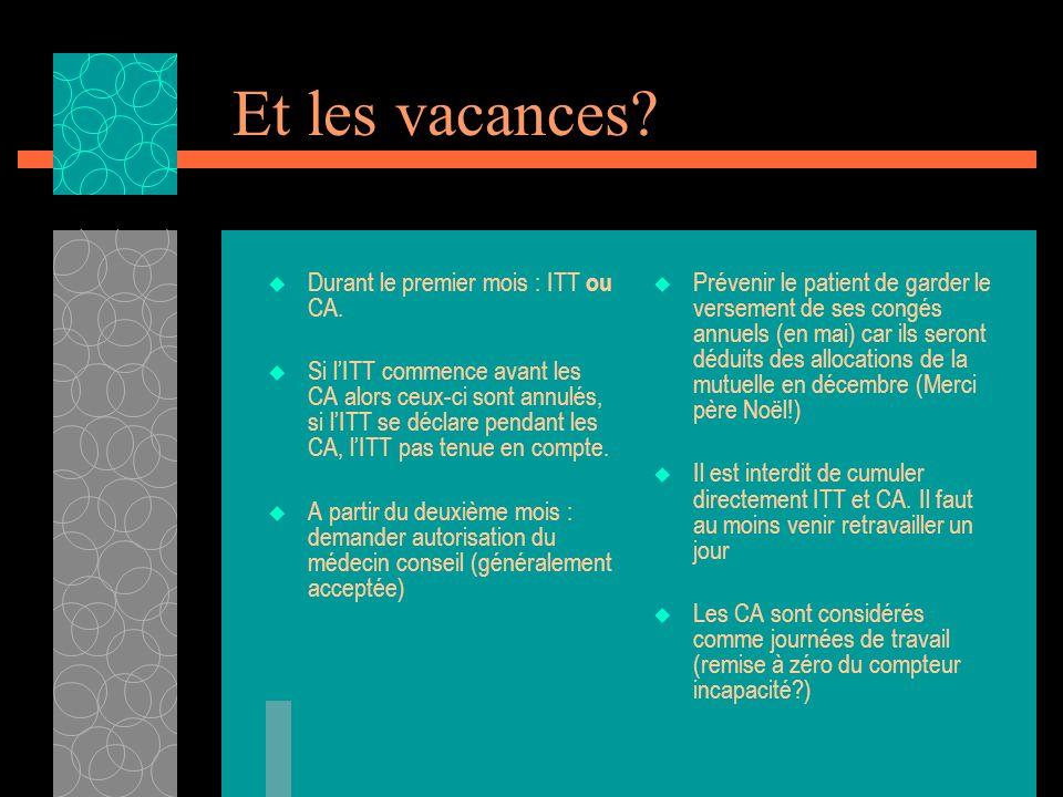 Et les vacances? Durant le premier mois : ITT ou CA. Si lITT commence avant les CA alors ceux-ci sont annulés, si lITT se déclare pendant les CA, lITT