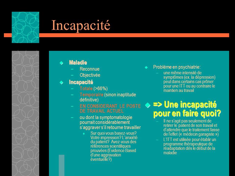 Incapacité Maladie Maladie –Reconnue –Objectivée Incapacité Incapacité – Totale (>66%) – Temporaire (sinon inaptitude définitive) – EN CONSIDERANT LE
