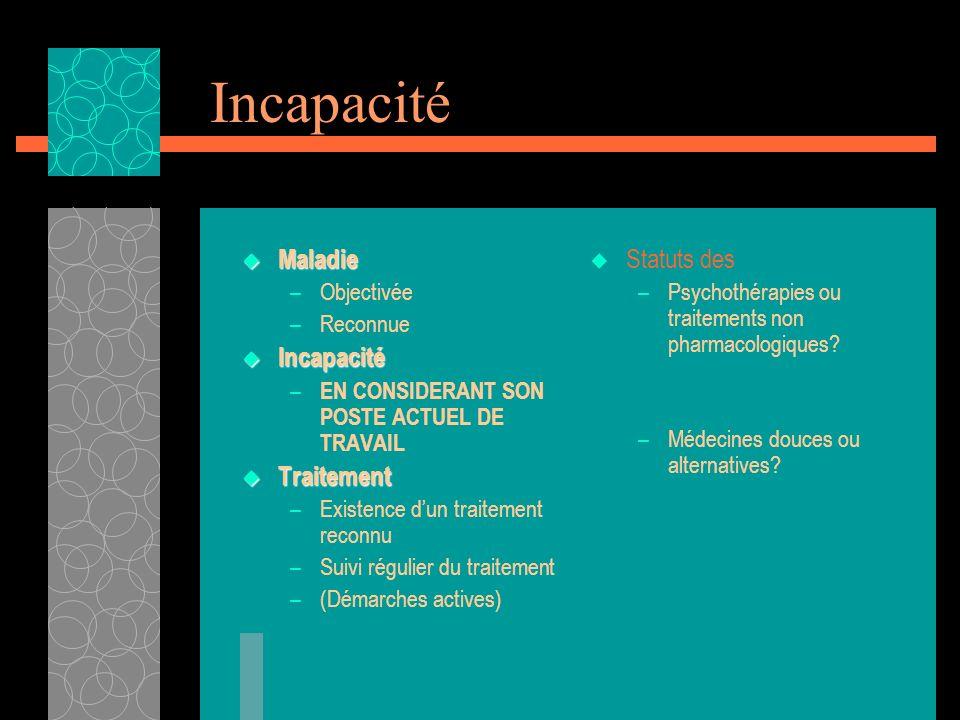 Incapacité Maladie Maladie –Objectivée –Reconnue Incapacité Incapacité – EN CONSIDERANT SON POSTE ACTUEL DE TRAVAIL Traitement Traitement –Existence d