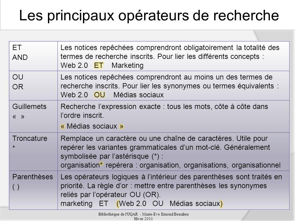 ET AND OU OR Guillemets « » Troncature * Parenthèses ( ) Bibliothèque de l UQAR - Marie-Eve Emond Beaulieu Hiver 2011 Les principaux opérateurs de recherche