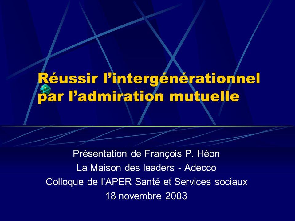 Réussir lintergénérationnel par ladmiration mutuelle Présentation de François P. Héon La Maison des leaders - Adecco Colloque de lAPER Santé et Servic