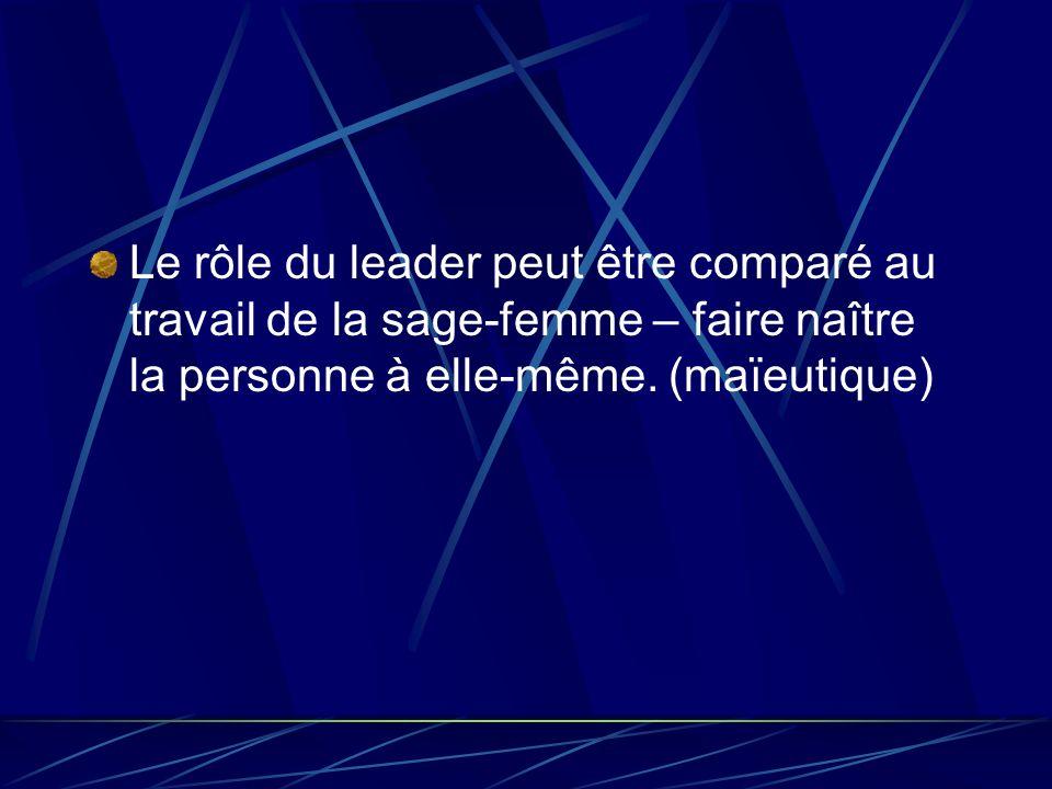Le rôle du leader peut être comparé au travail de la sage-femme – faire naître la personne à elle-même. (maïeutique)