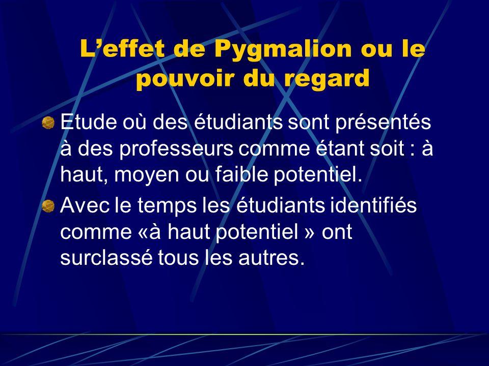 Leffet de Pygmalion ou le pouvoir du regard Etude où des étudiants sont présentés à des professeurs comme étant soit : à haut, moyen ou faible potenti