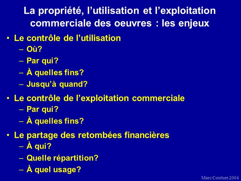 Marc Couture 2004 La propriété, lutilisation et lexploitation commerciale des oeuvres : les enjeux Le contrôle de lutilisation –Où.