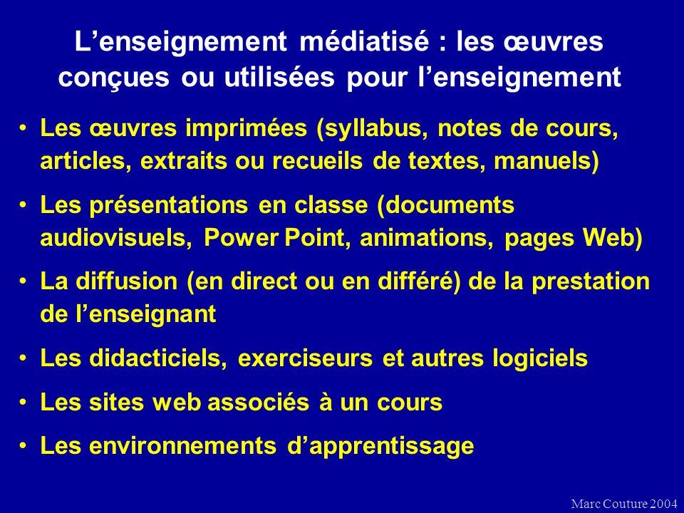 Marc Couture 2004 Lenseignement médiatisé : cours à distance et cours en ligne Un cours à distance comprend : –le contenu –les activités –les consignes –lencadrement –lévaluation Un cours en ligne comprend les mêmes éléments, accessibles en tout ou en partie dans : –un site web –un environnement en ligne