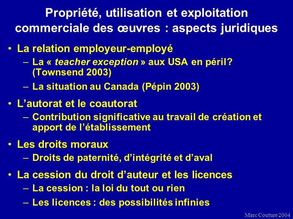 Marc Couture 2004 Propriété, utilisation et exploitation commerciale des œuvres : aspects juridiques La relation employeur-employé –La « teacher exception » aux USA en péril.