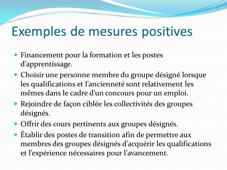 Exemples de mesures positives Financement pour la formation et les postes dapprentissage.