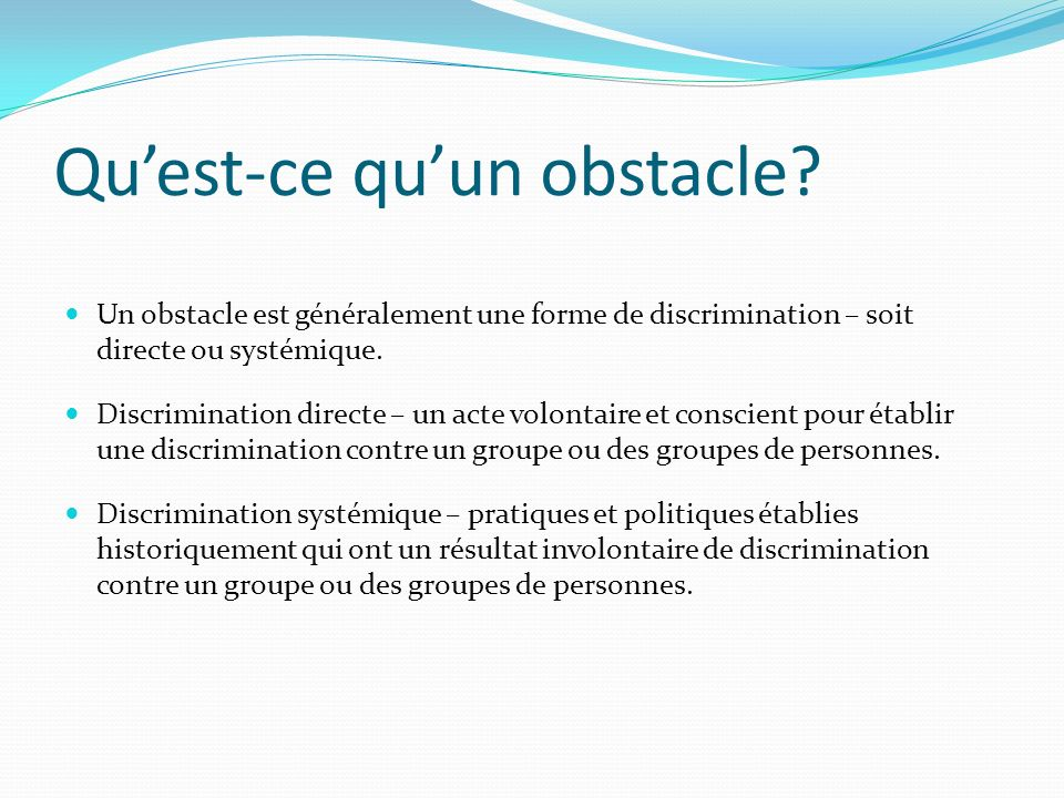 Quest-ce quun obstacle.