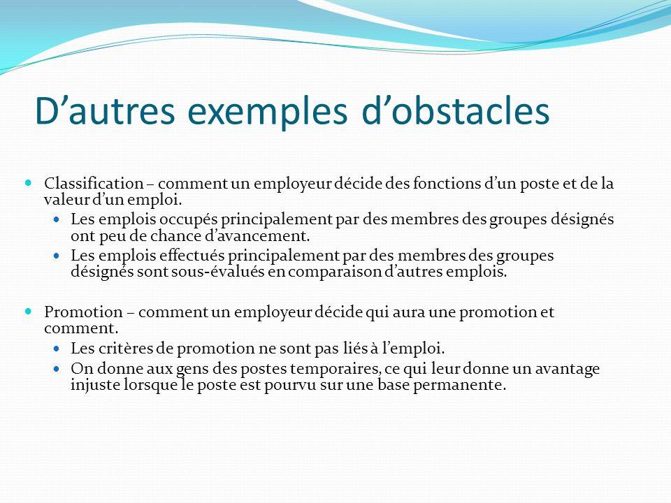 Dautres exemples dobstacles Classification – comment un employeur décide des fonctions dun poste et de la valeur dun emploi.