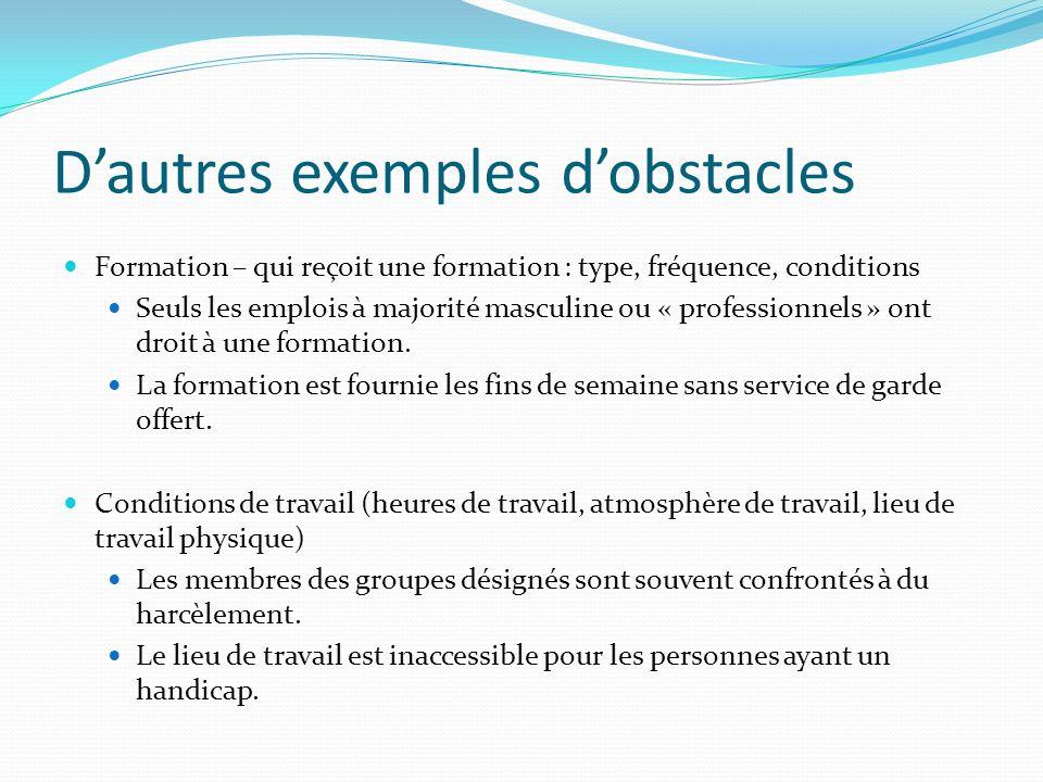 Dautres exemples dobstacles Formation – qui reçoit une formation : type, fréquence, conditions Seuls les emplois à majorité masculine ou « professionnels » ont droit à une formation.