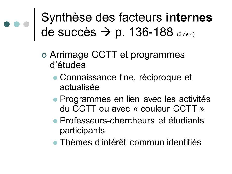 Synthèse des facteurs internes de succès p. 136-188 (3 de 4) Arrimage CCTT et programmes détudes Connaissance fine, réciproque et actualisée Programme