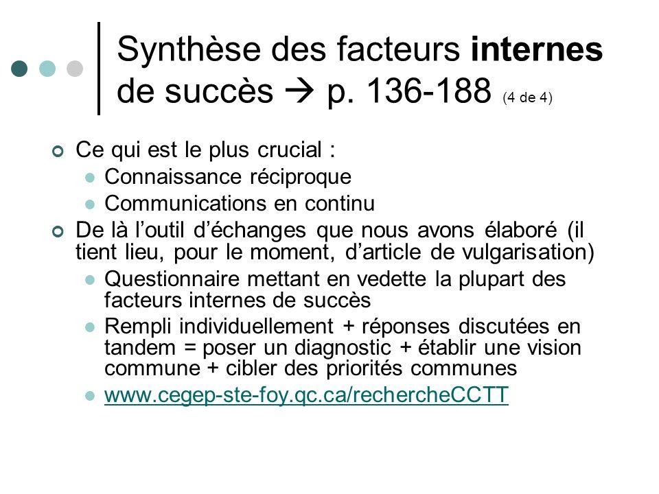 Synthèse des facteurs internes de succès p. 136-188 (4 de 4) Ce qui est le plus crucial : Connaissance réciproque Communications en continu De là lout