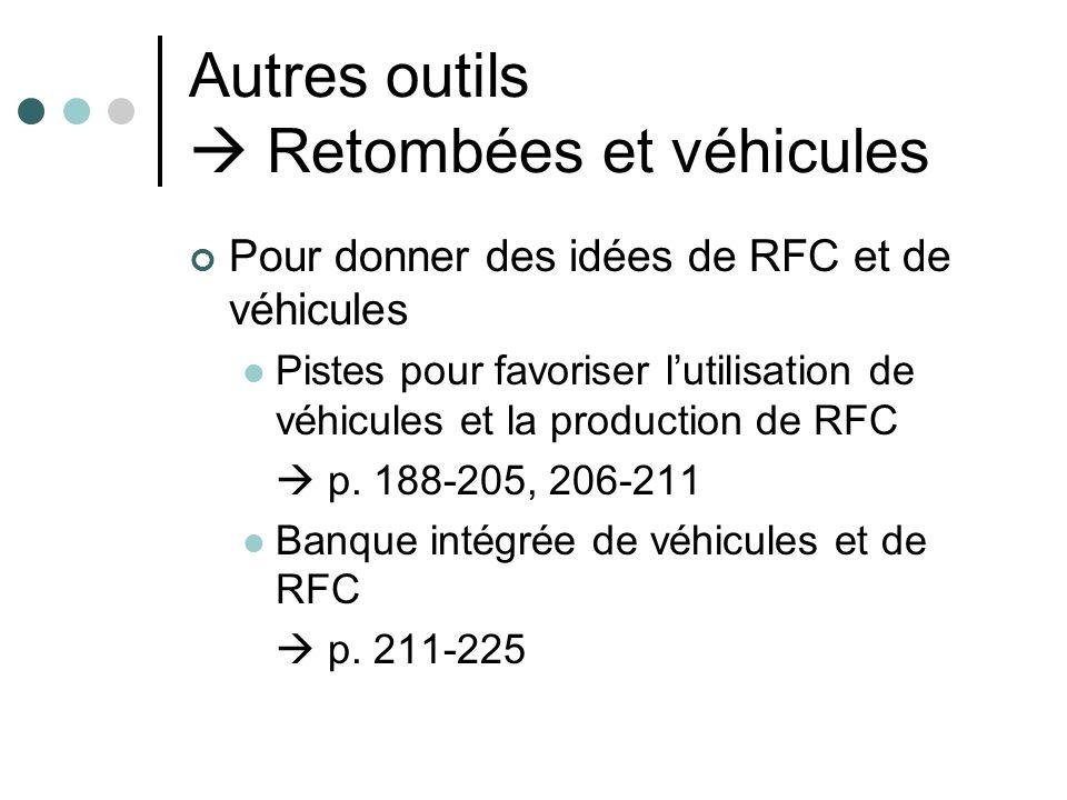 Autres outils Retombées et véhicules Pour donner des idées de RFC et de véhicules Pistes pour favoriser lutilisation de véhicules et la production de