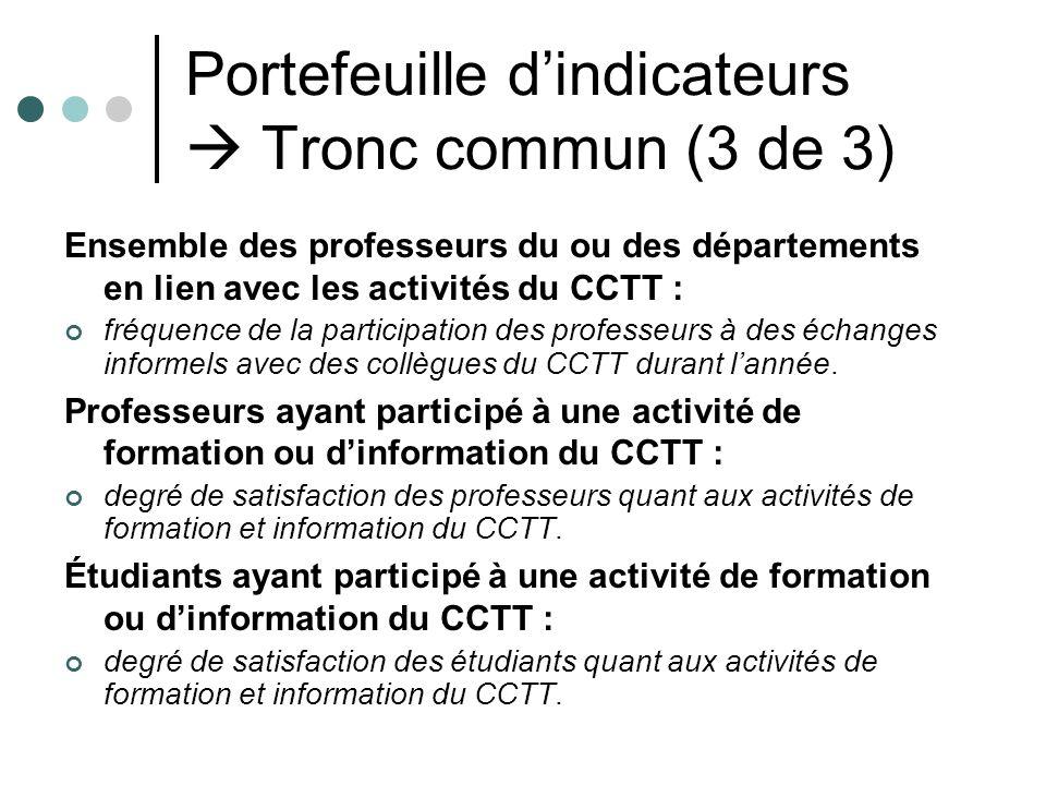 Portefeuille dindicateurs Tronc commun (3 de 3) Ensemble des professeurs du ou des départements en lien avec les activités du CCTT : fréquence de la p