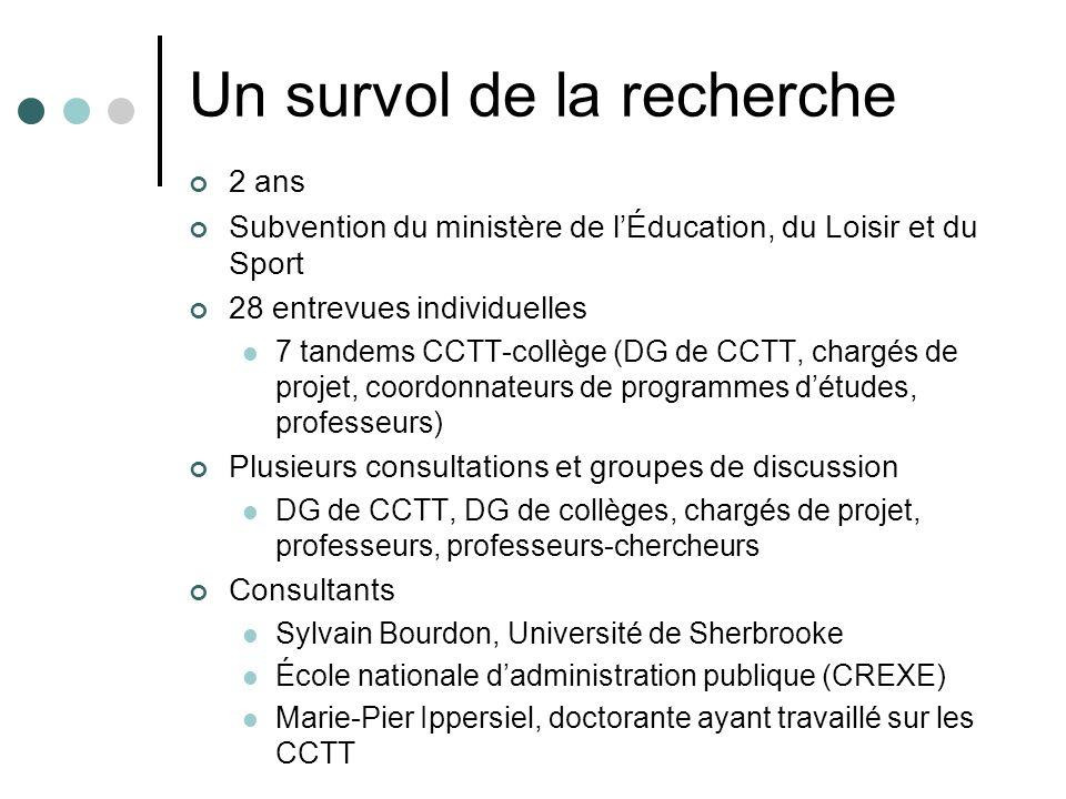 Un survol de la recherche 2 ans Subvention du ministère de lÉducation, du Loisir et du Sport 28 entrevues individuelles 7 tandems CCTT-collège (DG de