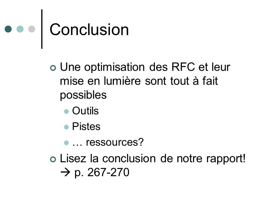 Conclusion Une optimisation des RFC et leur mise en lumière sont tout à fait possibles Outils Pistes … ressources? Lisez la conclusion de notre rappor