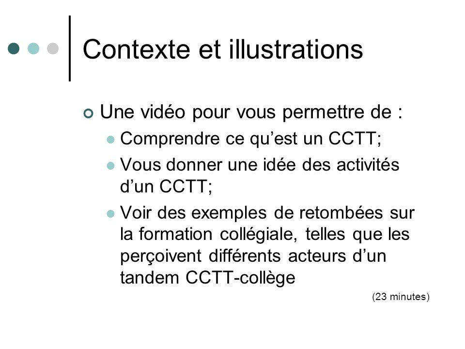 Contexte et illustrations Une vidéo pour vous permettre de : Comprendre ce quest un CCTT; Vous donner une idée des activités dun CCTT; Voir des exempl