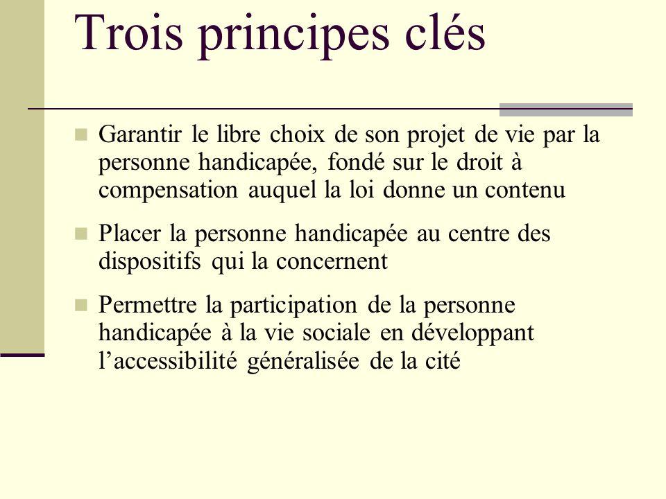 Trois principes clés Garantir le libre choix de son projet de vie par la personne handicapée, fondé sur le droit à compensation auquel la loi donne un