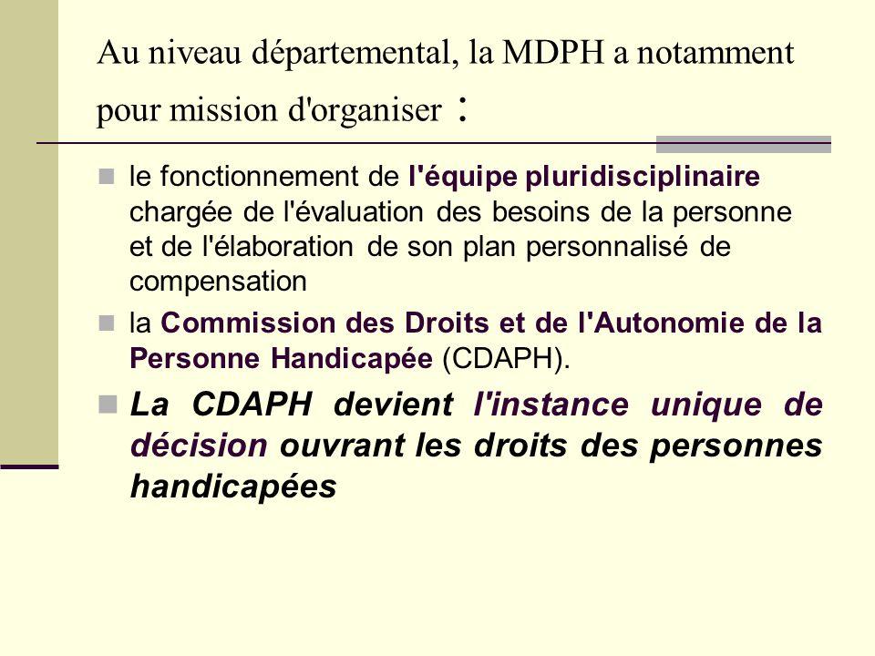 Au niveau départemental, la MDPH a notamment pour mission d'organiser : le fonctionnement de l'équipe pluridisciplinaire chargée de l'évaluation des b