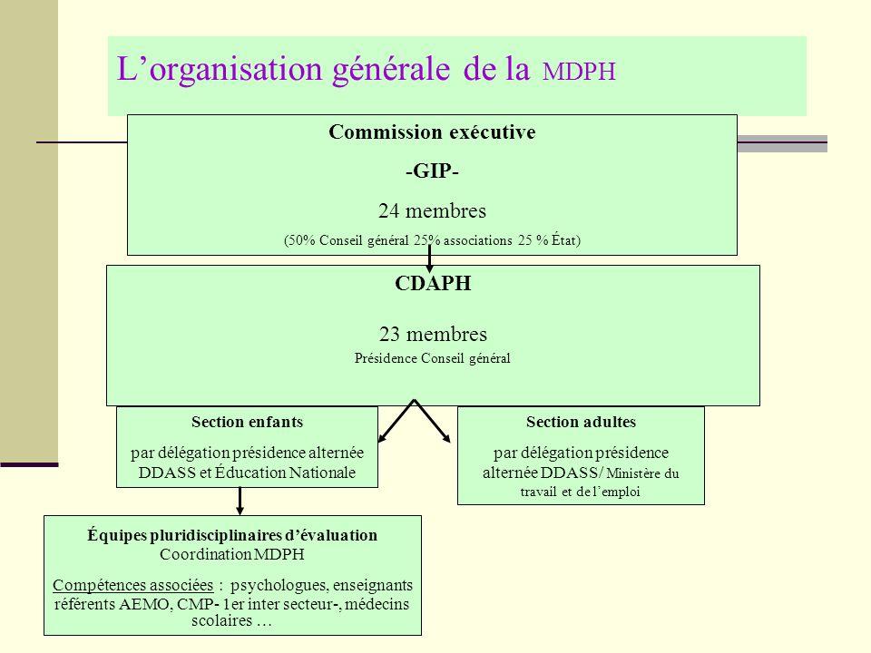 Lorganisation générale de la MDPH Commission exécutive -GIP- 24 membres (50% Conseil général 25% associations 25 % État) CDAPH 23 membres Présidence C