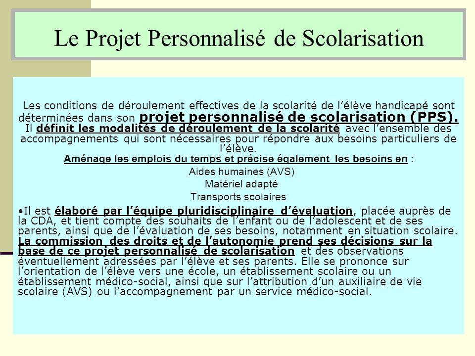 Le Projet Personnalisé de Scolarisation projet personnalisé de scolarisation (PPS). définit les modalités de déroulement de la scolarité Les condition