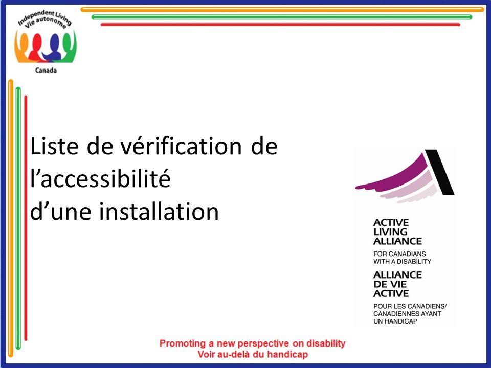 Liste de vérification de laccessibilité dune installation