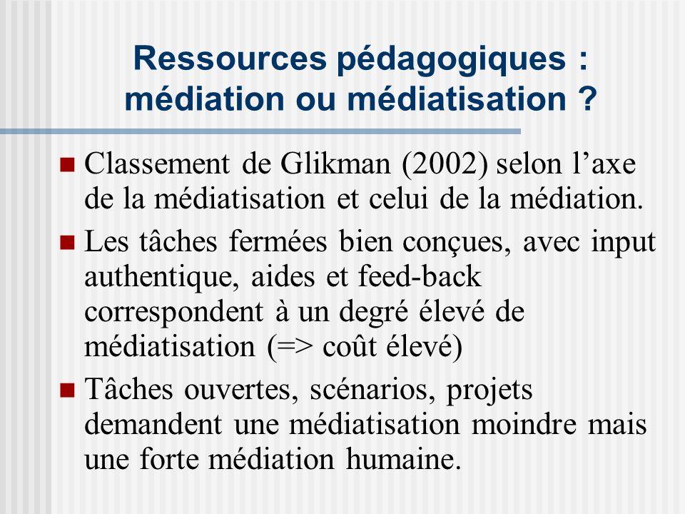 Ressources pédagogiques : médiation ou médiatisation ? Classement de Glikman (2002) selon laxe de la médiatisation et celui de la médiation. Les tâche