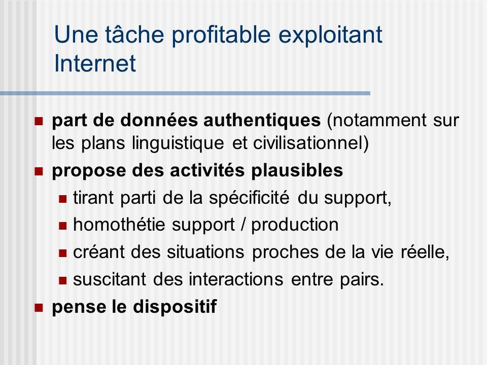 Une tâche profitable exploitant Internet part de données authentiques (notamment sur les plans linguistique et civilisationnel) propose des activités