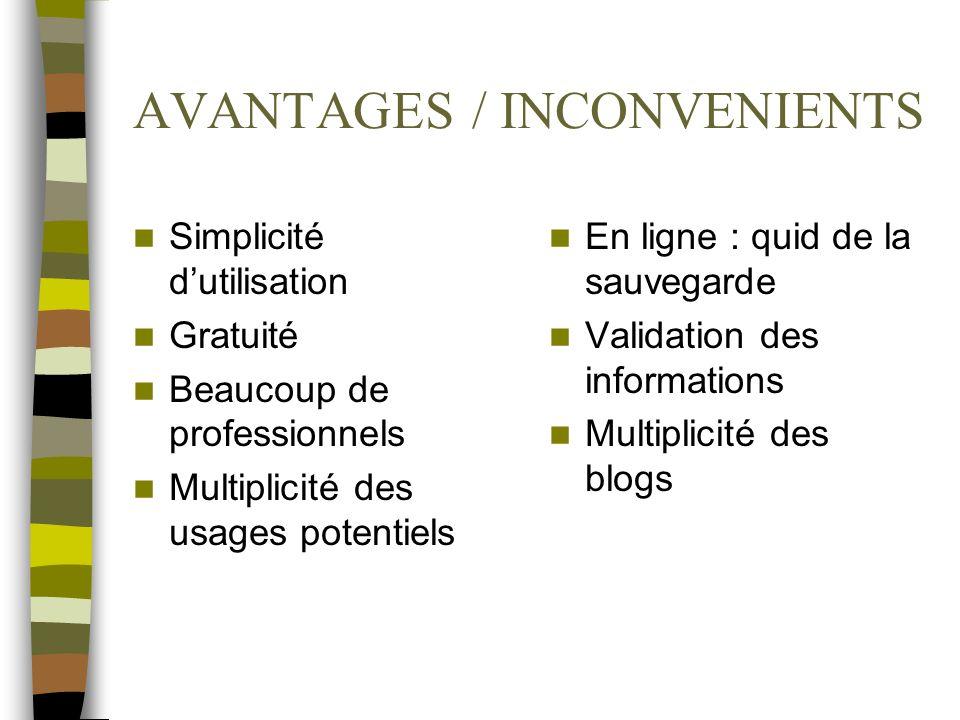 AVANTAGES / INCONVENIENTS Simplicité dutilisation Gratuité Beaucoup de professionnels Multiplicité des usages potentiels En ligne : quid de la sauvega