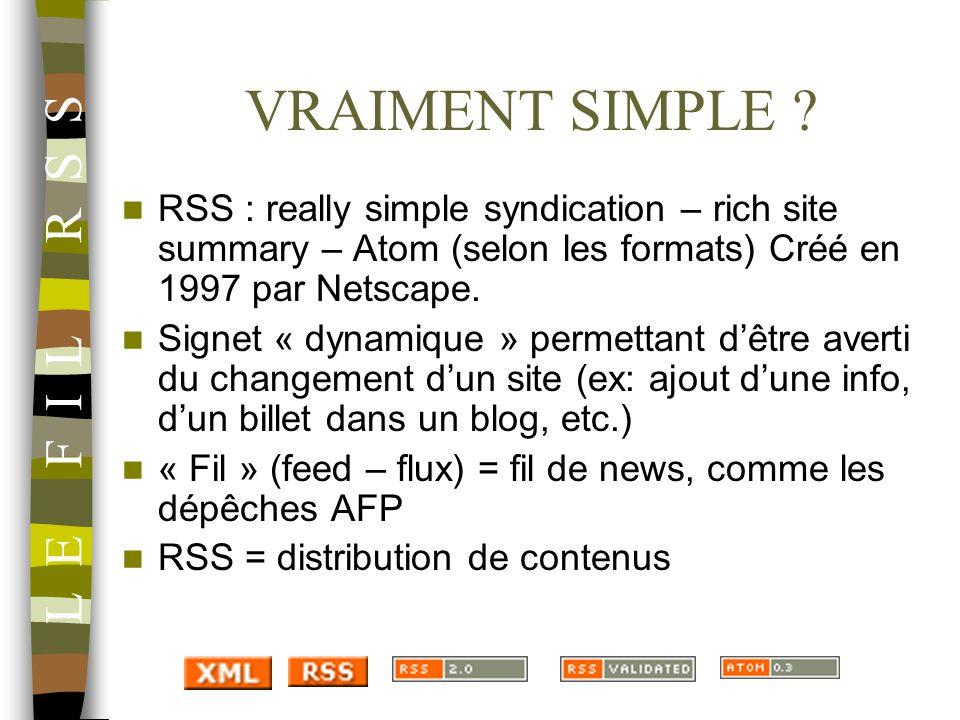 VRAIMENT SIMPLE ? RSS : really simple syndication – rich site summary – Atom (selon les formats) Créé en 1997 par Netscape. Signet « dynamique » perme