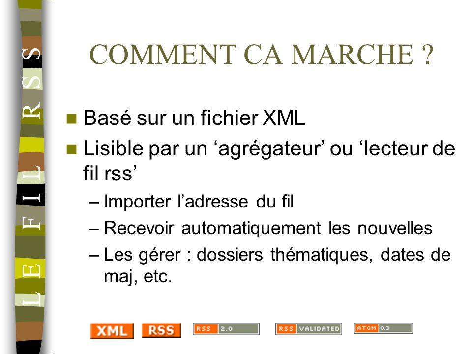 COMMENT CA MARCHE ? Basé sur un fichier XML Lisible par un agrégateur ou lecteur de fil rss –Importer ladresse du fil –Recevoir automatiquement les no