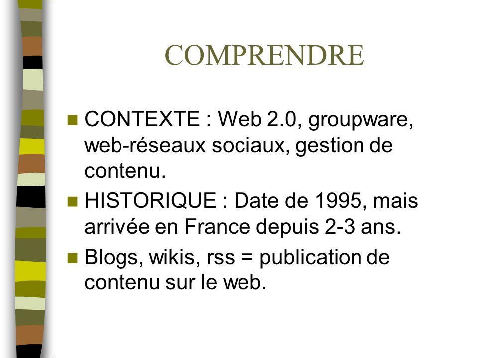 COMPRENDRE CONTEXTE : Web 2.0, groupware, web-réseaux sociaux, gestion de contenu. HISTORIQUE : Date de 1995, mais arrivée en France depuis 2-3 ans. B