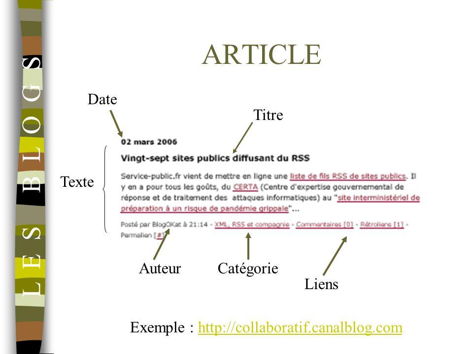 ARTICLE Date Titre Texte AuteurCatégorie Liens Exemple : http://collaboratif.canalblog.comhttp://collaboratif.canalblog.com L E S B L O G S