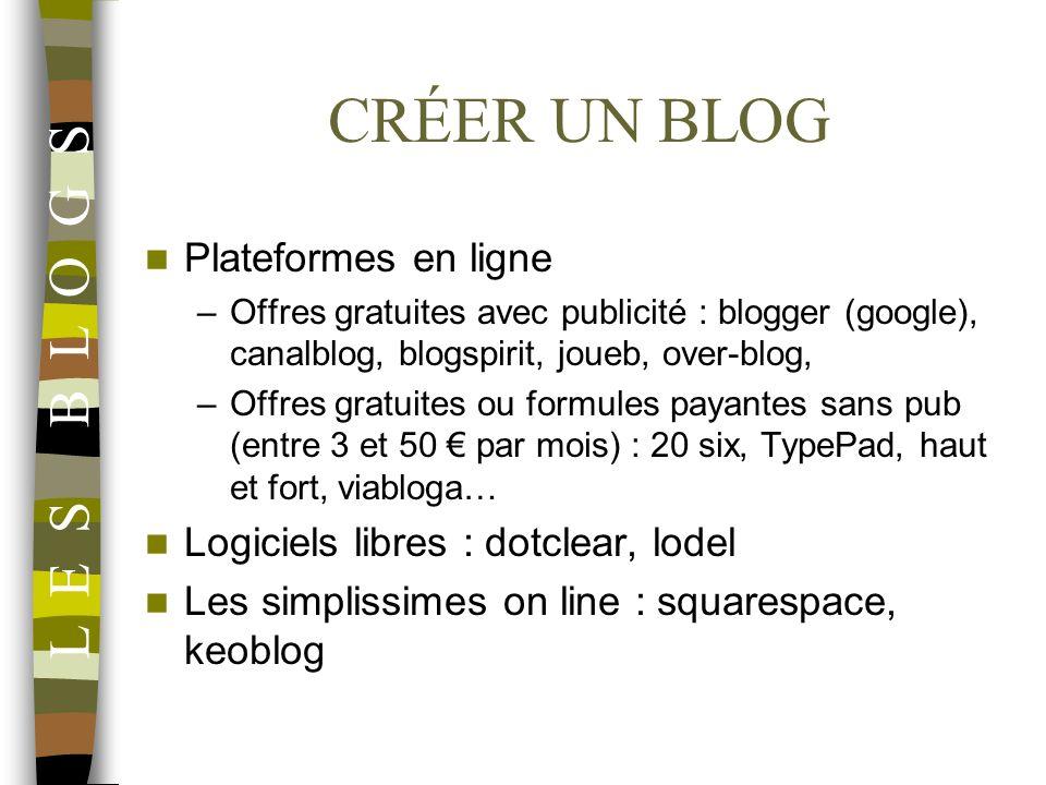 CRÉER UN BLOG Plateformes en ligne –Offres gratuites avec publicité : blogger (google), canalblog, blogspirit, joueb, over-blog, –Offres gratuites ou