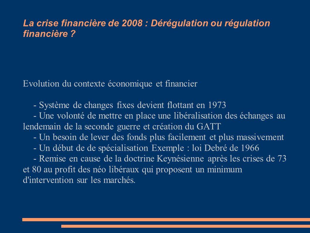 La crise financière de 2008 : Dérégulation ou régulation financière ? Evolution du contexte économique et financier - Système de changes fixes devient