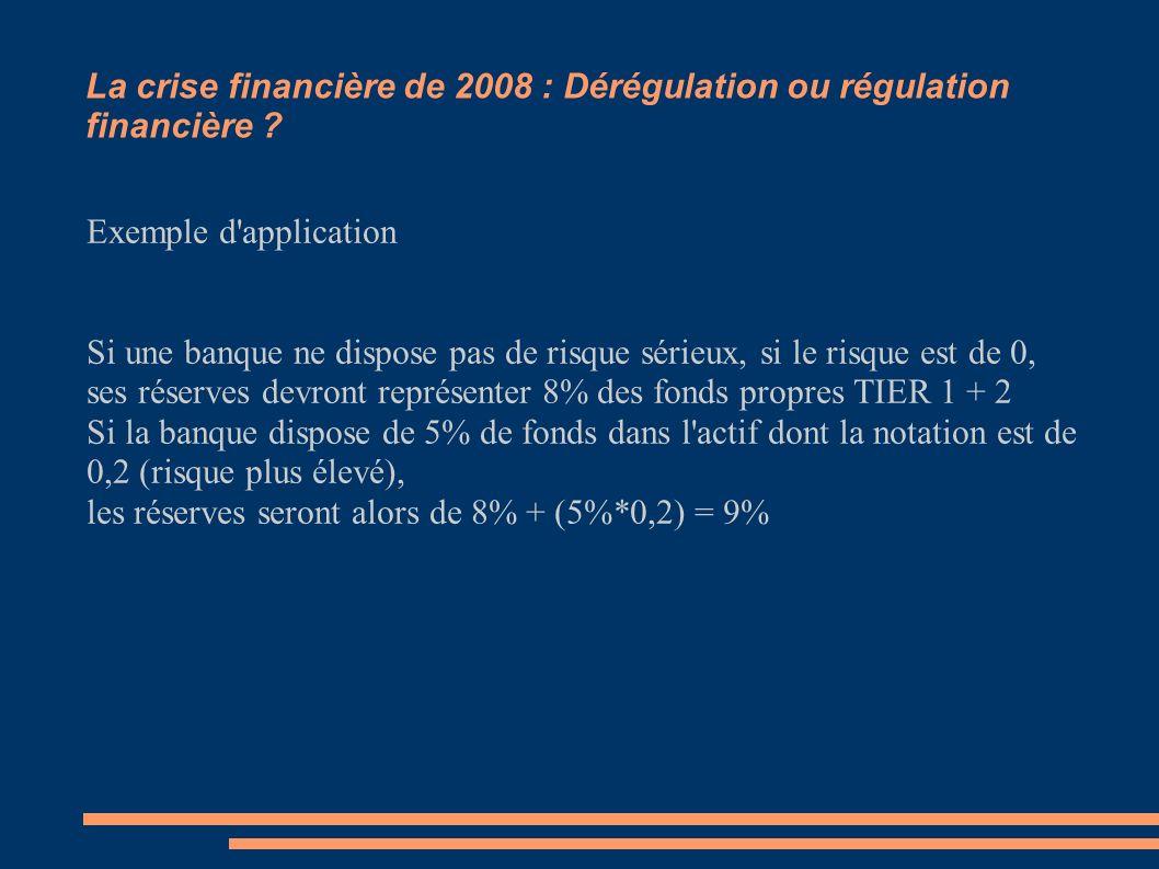 La crise financière de 2008 : Dérégulation ou régulation financière ? Exemple d'application Si une banque ne dispose pas de risque sérieux, si le risq