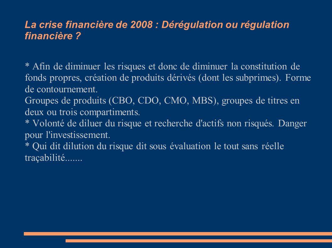 * Afin de diminuer les risques et donc de diminuer la constitution de fonds propres, création de produits dérivés (dont les subprimes). Forme de conto