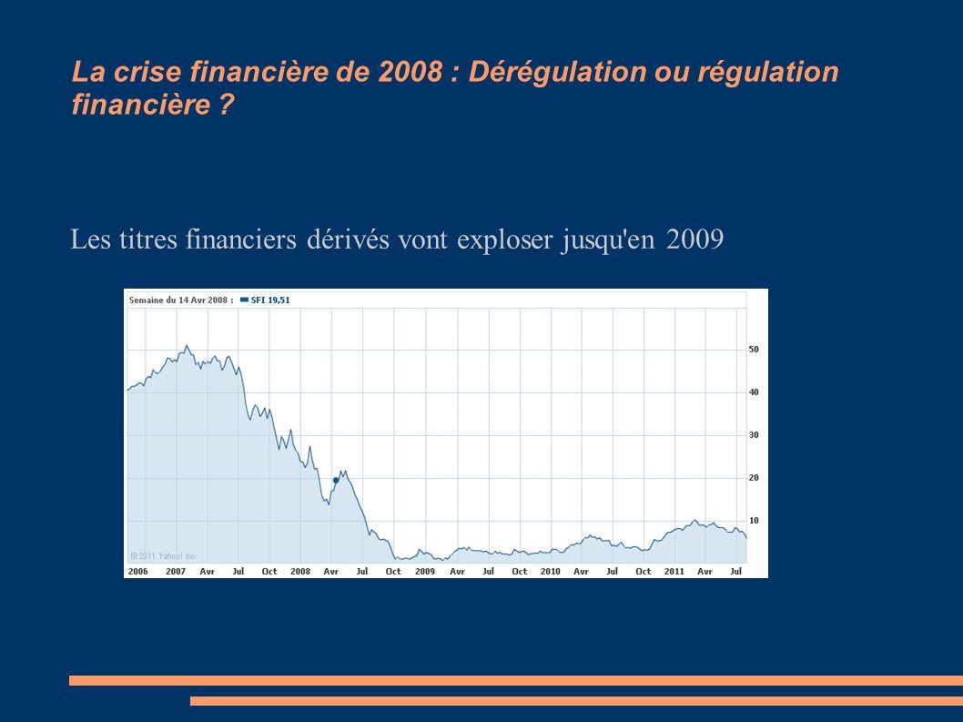 La crise financière de 2008 : Dérégulation ou régulation financière ? Les titres financiers dérivés vont exploser jusqu'en 2009