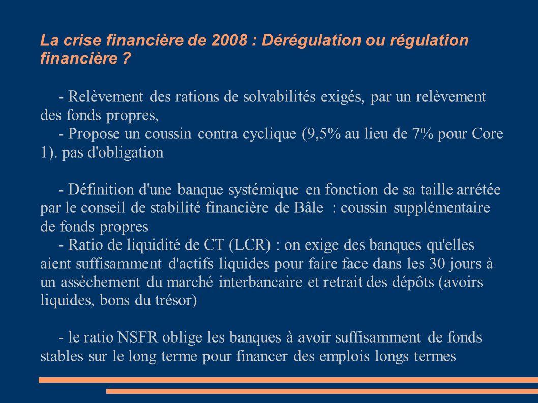 La crise financière de 2008 : Dérégulation ou régulation financière ? - Relèvement des rations de solvabilités exigés, par un relèvement des fonds pro