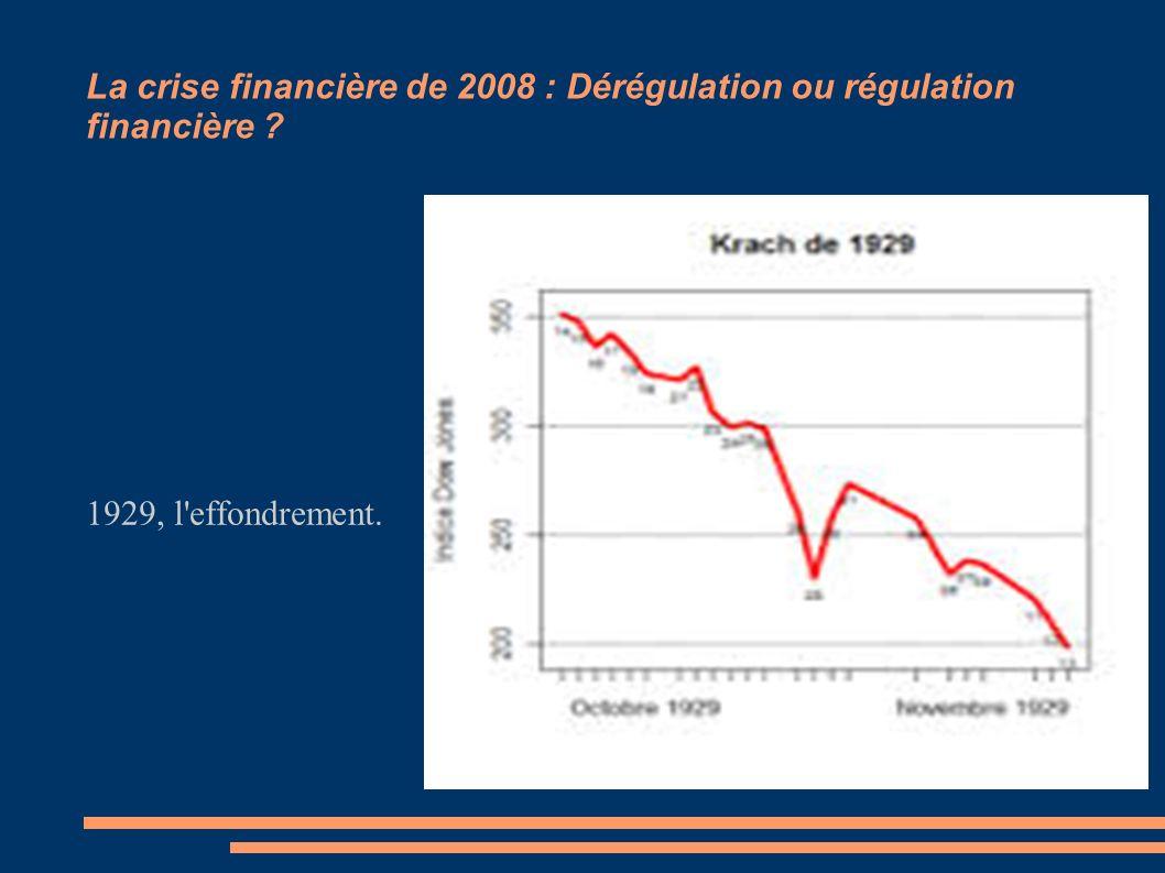 La crise financière de 2008 : Dérégulation ou régulation financière ? 1929, l'effondrement.
